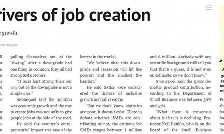 Cape Argus : SME's drivers of job creation