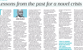 Business Day: JOHN DLUDLU: Lessons from the past for a crisis the world has not seen before